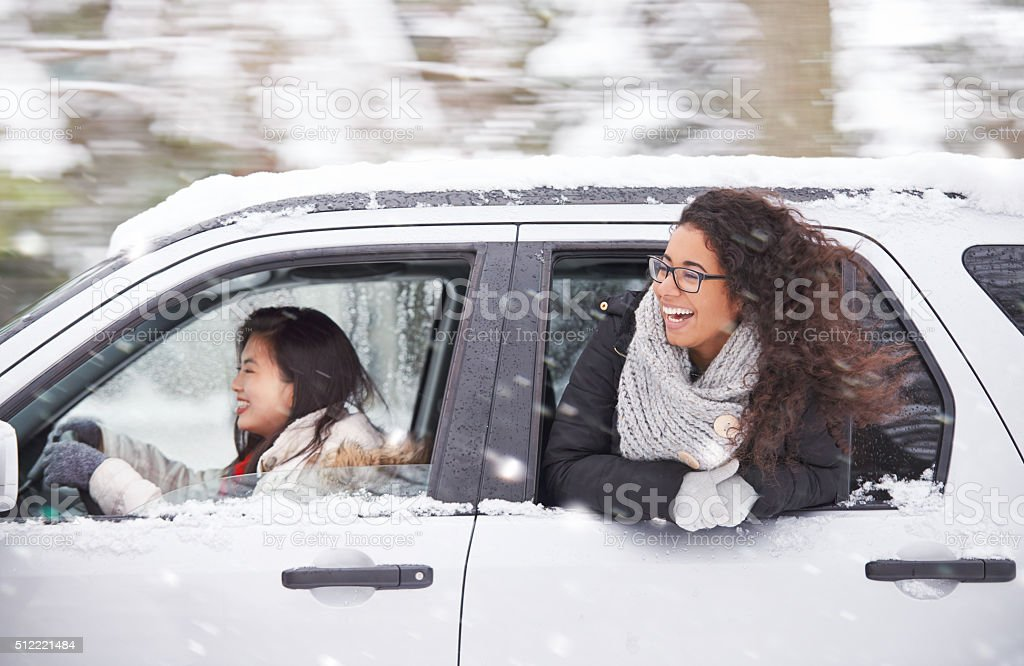 Chasing a wintery adventure stock photo