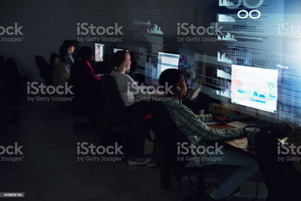 Chasing down their deadline stock photo