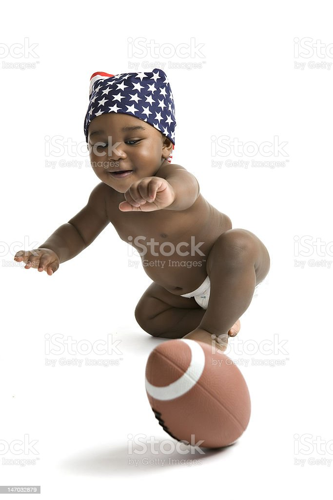 Chasing the Football stock photo