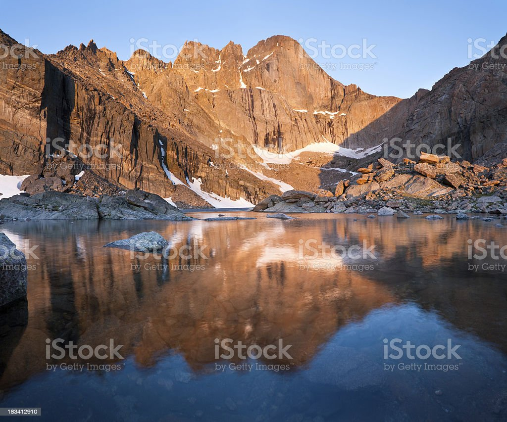 Chasm Lake and Long's Peak Reflection stock photo