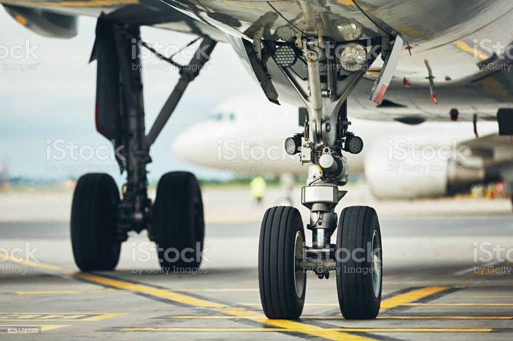 Chassis of the airplane stock photo