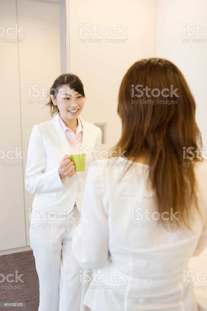 OL chat at the watercooler royalty-free stock photo