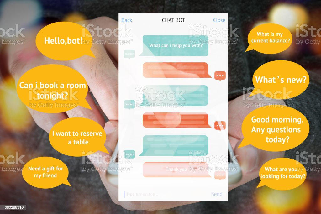 Chat bot and future marketing concept , automatic chatbot message screen with hand holding mobile phone bokeh background stock photo
