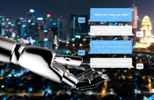 chat bot et le concept de marketing futur. chatbot automatique des messages boîte de dialogue écran et robot main avec flou abstrait bokeh de fond clair de nuit ville - chatbot photos et images de collection