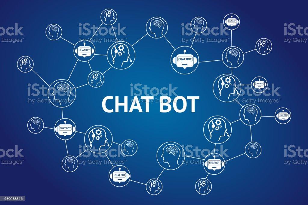 Chat-Bot und zukünftige marketing-Konzept, Chatbot Text und Roboter verbinden Symbole mit blauem Hintergrund – Foto