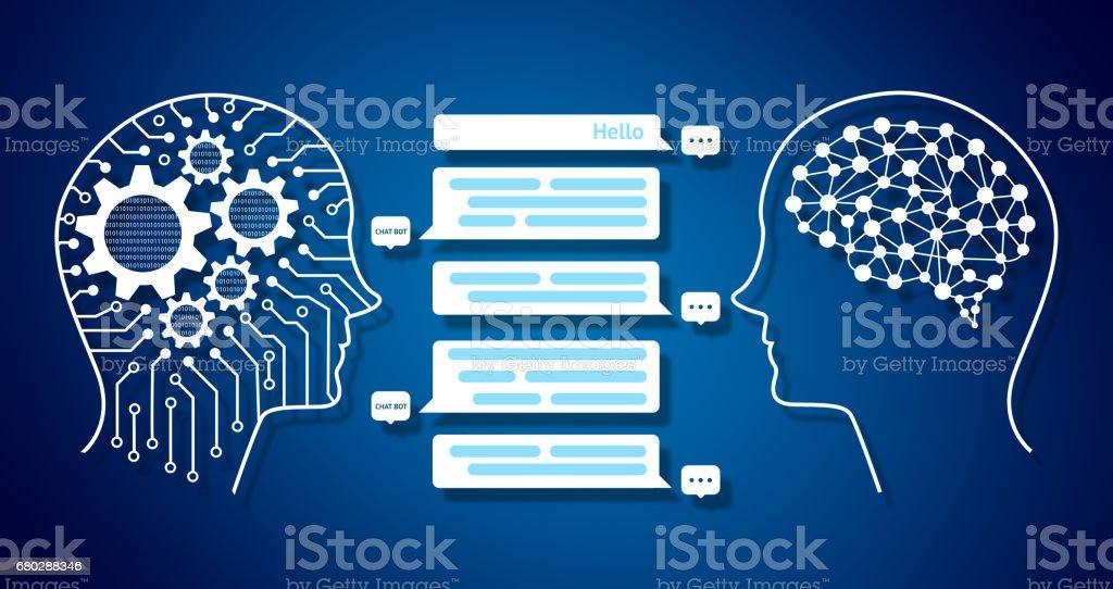 Chat-Bot und zukünftige Infografik Marketingkonzept, automatische Grafik Chatbot Nachrichtenbildschirm. Roboter und menschlichen Grafik, Zahnräder, binär codiert und Stromkreis-Hintergrund – Foto
