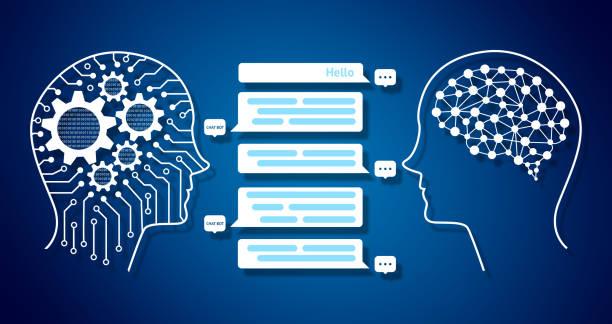 chat bot et futur concept marketing d'infographie, écran message automatique chatbot graphique. robot et graphique humain, engrenages, codé binaire et fond de circuit électrique - chatbot photos et images de collection
