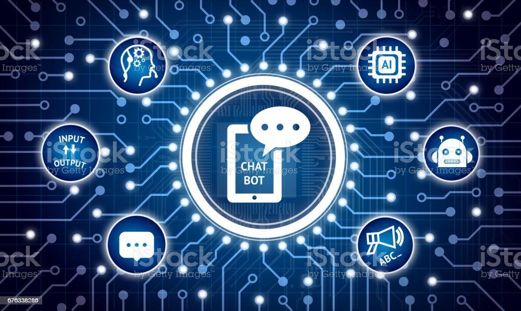 Chat Bot zukünftige Technologie Marketingkonzept. Stromkreis-Grafik und Infografik Chatbot, Roboter, künstliche Intelligenz, gear Operator Symbole – Foto