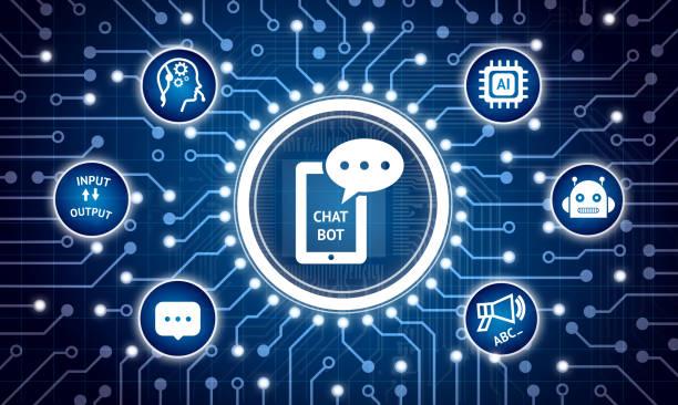 chat bot future technologie concept marketing. circuit électrique graphisme et infographie de chatbot, robot, intelligence artificielle, opérateur engins icônes - chatbot photos et images de collection