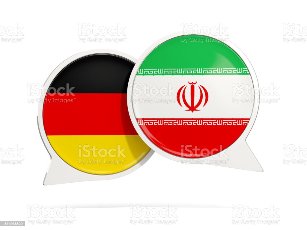 Chat bubbles of Germany and Iran isolated on white stock photo