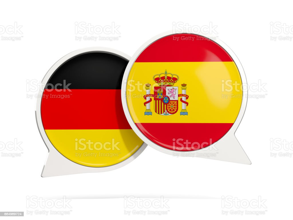 Chat bubbles of Germany and Spain isolated on white - foto stock