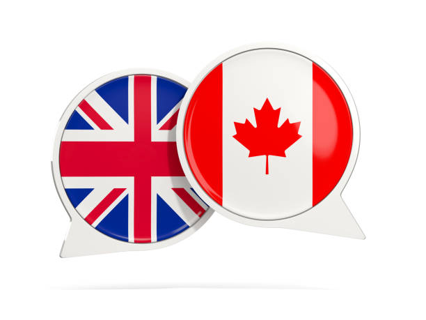 Chat bubbles of UK and Canada isolated on white stock photo