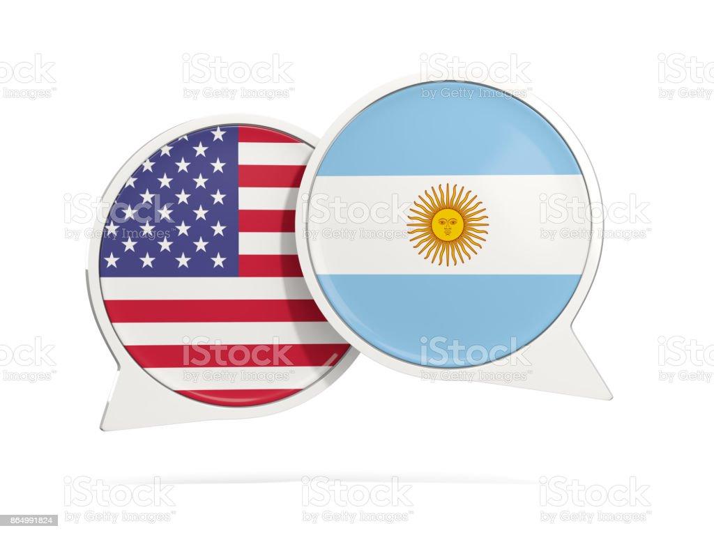 Burbujas de chat de Estados Unidos y Argentina, aislado en blanco - foto de stock