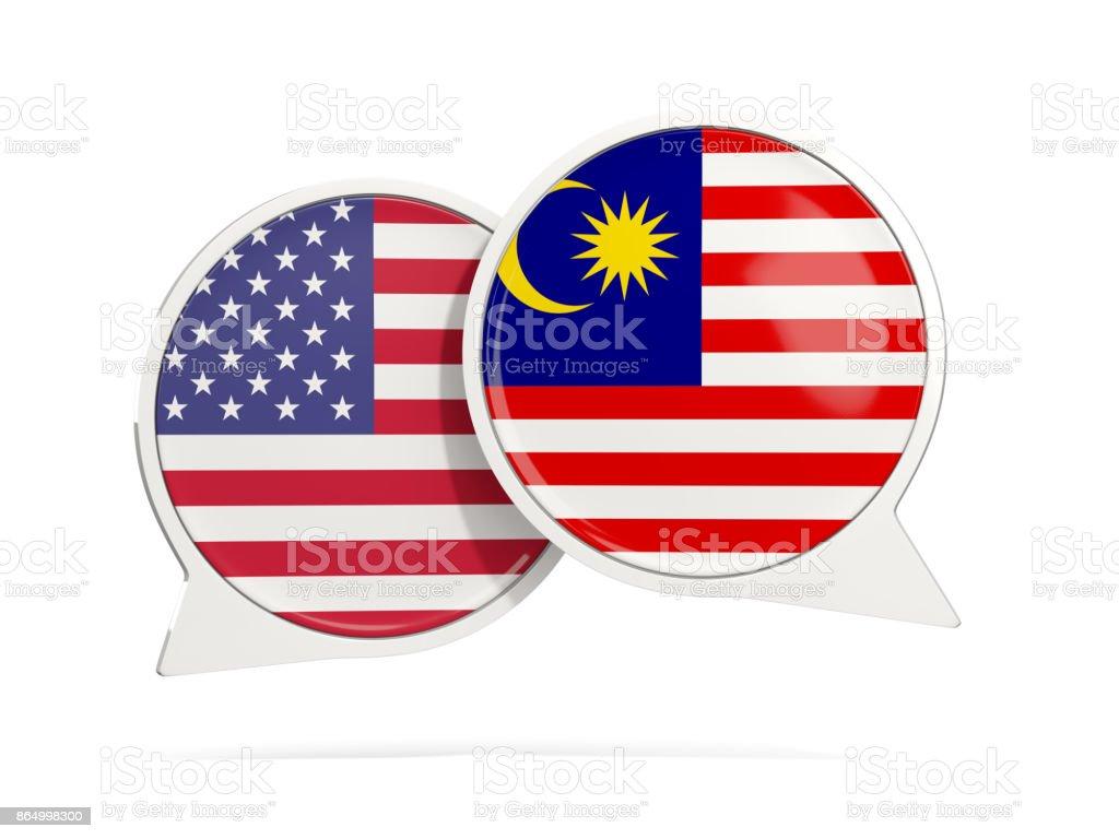 Bolhas do bate-papo dos EUA e Malásia isolado no branco - foto de acervo