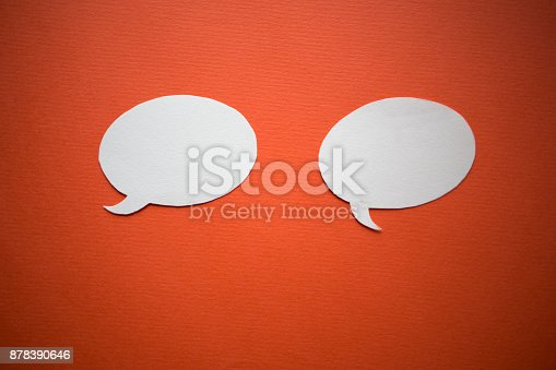 istock Chat bubbles - paper cut design 878390646