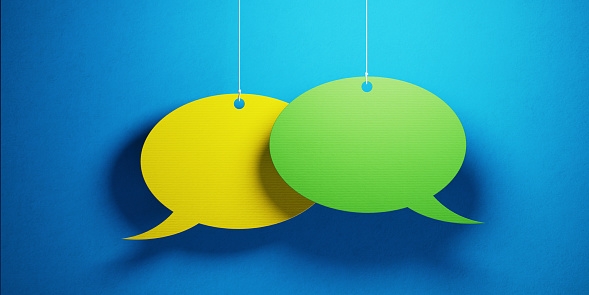 921154250 istock photo Chat Concept - Colorful Chat Bubbles Over Blue Background 923013548