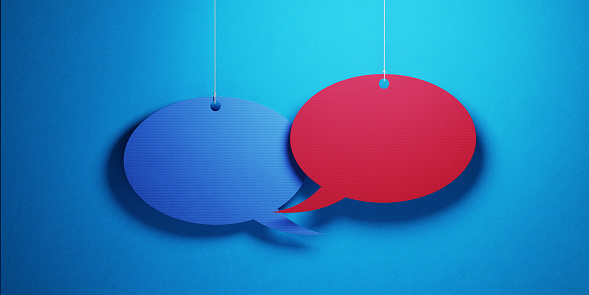 921154250 istock photo Chat Concept - Colorful Chat Bubbles Over Blue Background 923014152