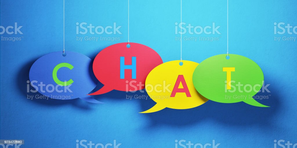 Colorful chat bubbles over blue background. Chat writes on the chat...