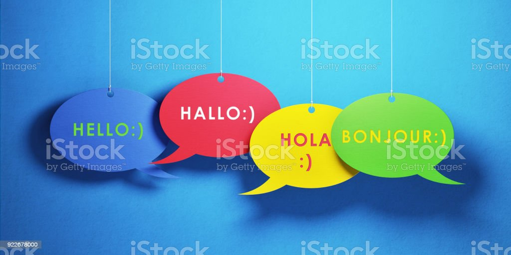 Colorful chat bubbles with greetings in different languages over blue...