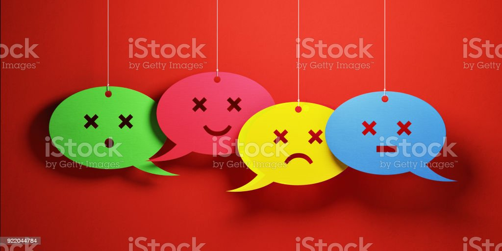 Colorful chat bubbles with various emojis over blue background....