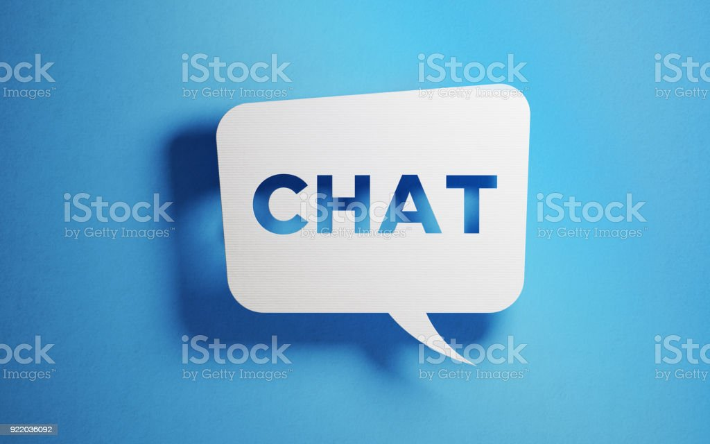 White chat bubble over blue background. Horizontal composition with...