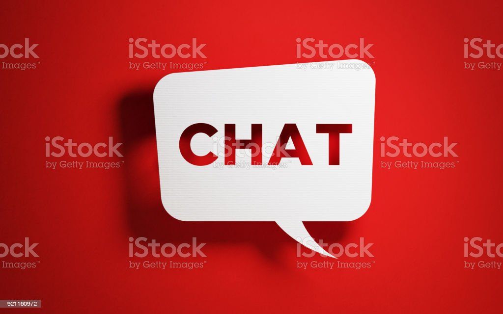 White chat bubble with chat text over red background. Horizontal...