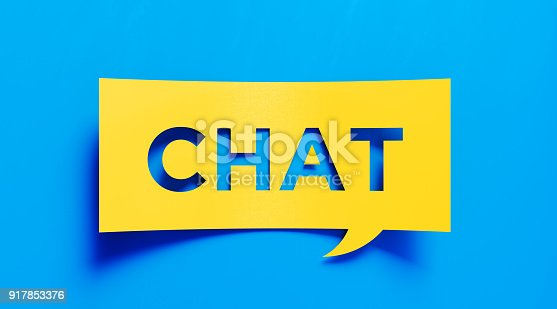 626645552 istock photo Chat Concept - Yellow Chat Text  Over Blue Background 917853376