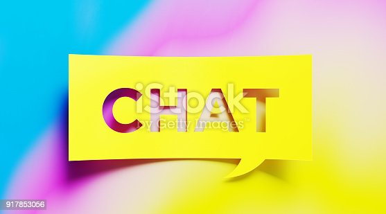 626645552 istock photo Chat Concept - Yellow Chat Text  Over Colorful Background 917853056