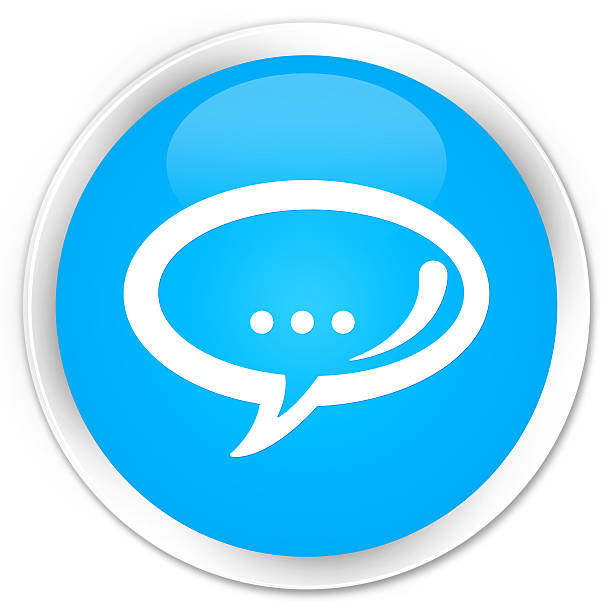 Chat icon cyan blue glossy round button stock photo