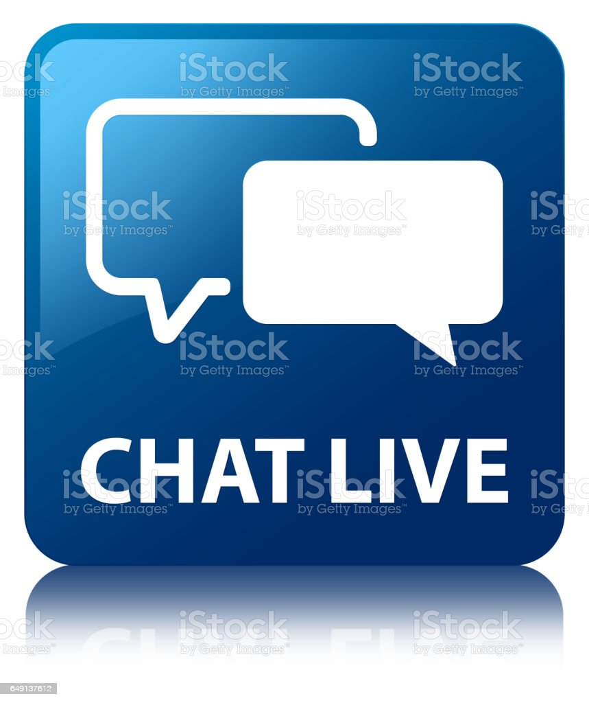 Chat live blue square button stock photo