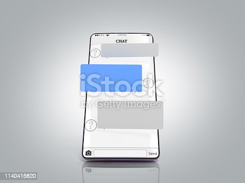istock Chat message on smartphone chat window in the smartphone empty message fields hang above the screen 3d render on grey gradient 1140415820