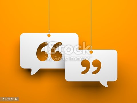 Chat symbol and Quotation Mark - hanging on the strings