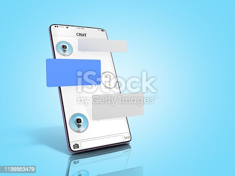 istock chat with chat bot Chat message on smartphone chat window in the smartphone empty message fields hang above the screen 3d render on blue gradient 1139953479