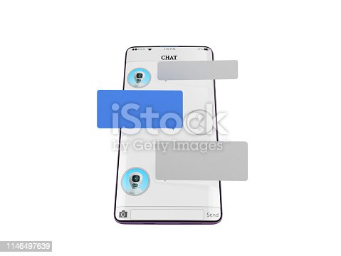 istock chat with chat bot Chat message on smartphone chat window in the smartphone empty message fields hang above the screen 3d render on white no shadow 1146497639