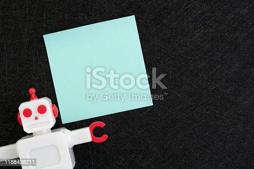 istock Chatbot, AI Artificial Intelligence concept, blue blank sticky note with vintage robot on dark black background with copy space to put text 1158438211
