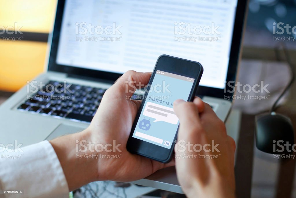 chatbot concept, chat robot answering questions online stock photo