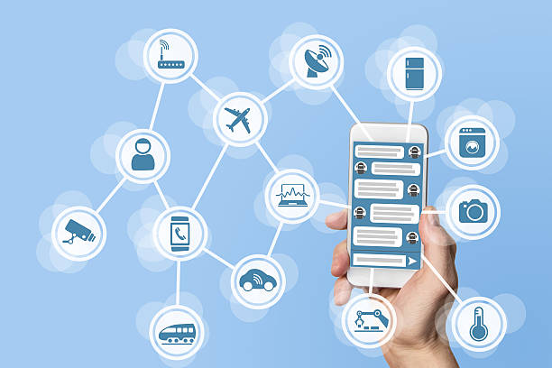 Chatbot concept for internet of things (IOT) stock photo