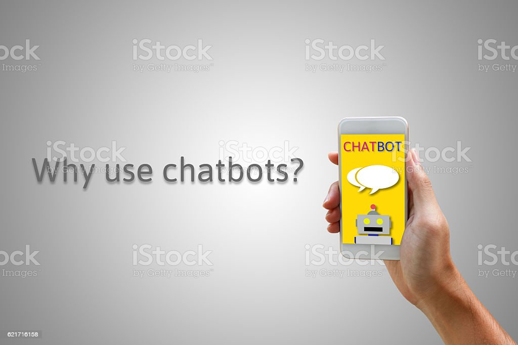 Chatbot concept. Man holding smartphone and using chatting. – Foto