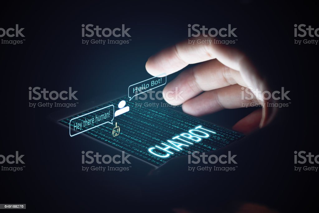 Chatbot concept. Man holding smartphone and using chatting. stock photo