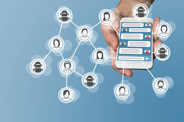 Chatbot concept with instant messenger displayed on smart phone stock photo