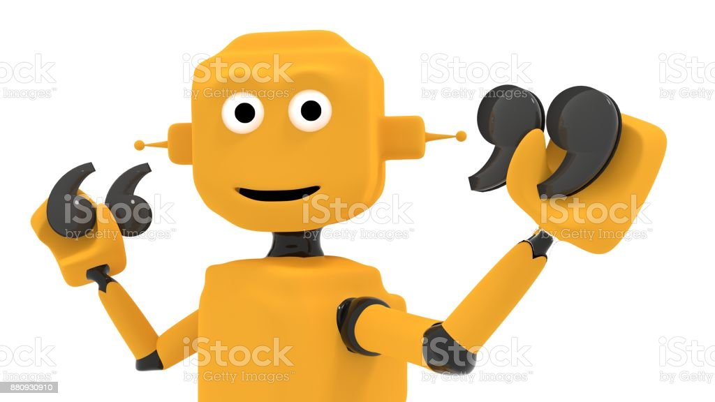 Chatbot concept with yellow robot holding two annotation symbols stock photo