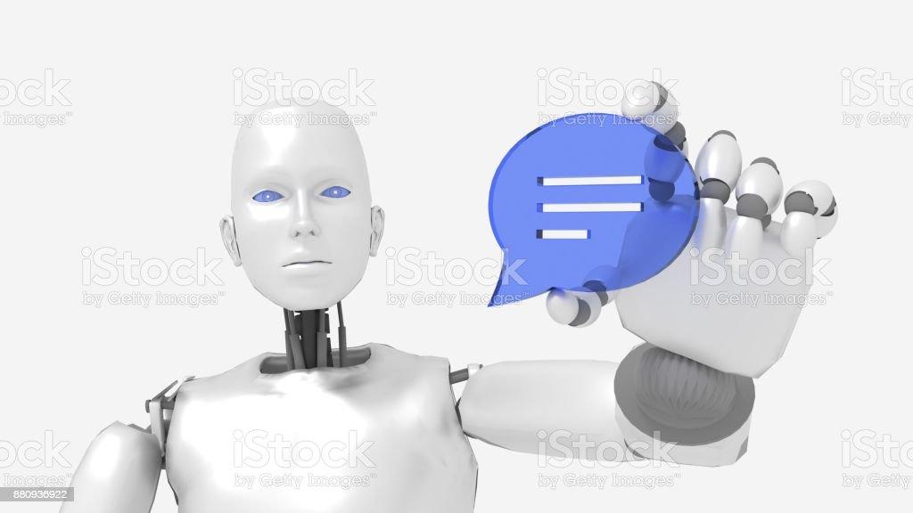 Chatbot weibliche Roboter hält eine Rede Blase symbol – Foto