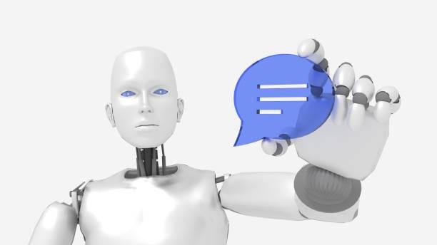 chatbot robot femme tenant un symbole de bulle de parole - chatbot photos et images de collection