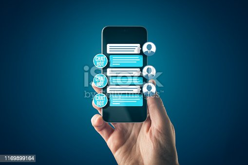 istock Chatbot Smart phone Artificial Intelligence communication concept 1169899164