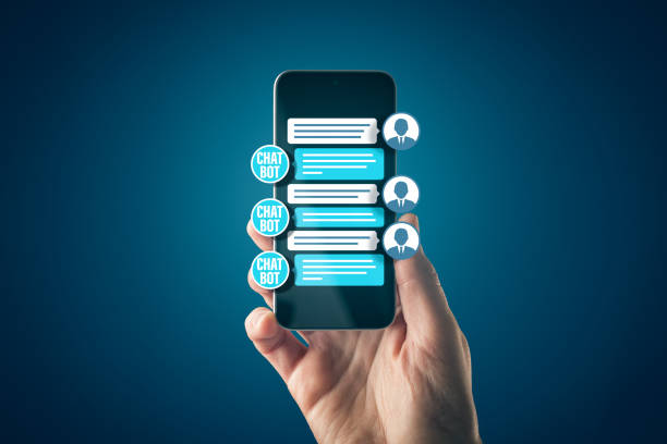 Chatbot Smart phone Artificial Intelligence communication concept stock photo