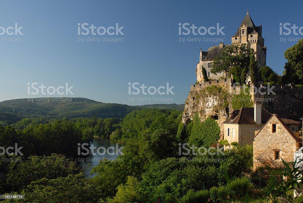 Chateau above the Dordogne stock photo