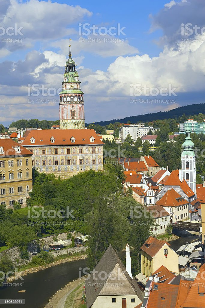 Chateau and the town of Cesky Krumlov (Czech Republic). royalty-free stock photo