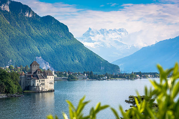 chateau chillon, montreux, switzerland - lake geneva stock photos and pictures