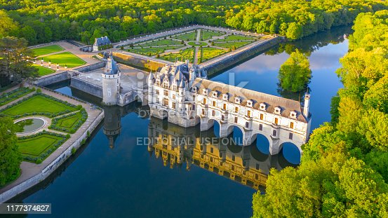 Chenonceaux, France - 1 May, 2019: Chateau de Chenonceau is a french castle spanning the River Cher near Chenonceaux village