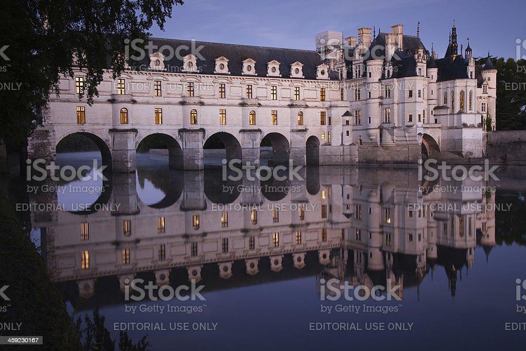 Chateau de Chenonceau Predawn Reflections stock photo